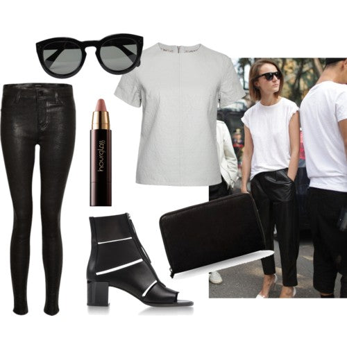 How to style the Sports Luxe Leather Look - London Street Style: J Brand Maria leather leggings, sunglasses, lipstick, shoes, bag, muubaa adamor leather tee. Blogger style.
