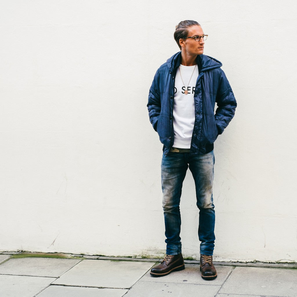 Serge DeNimes Oliver Proudlock, donna ida, london fashion, london style, street style, male jeans, denim, distressed jeans, printed tee, jacket