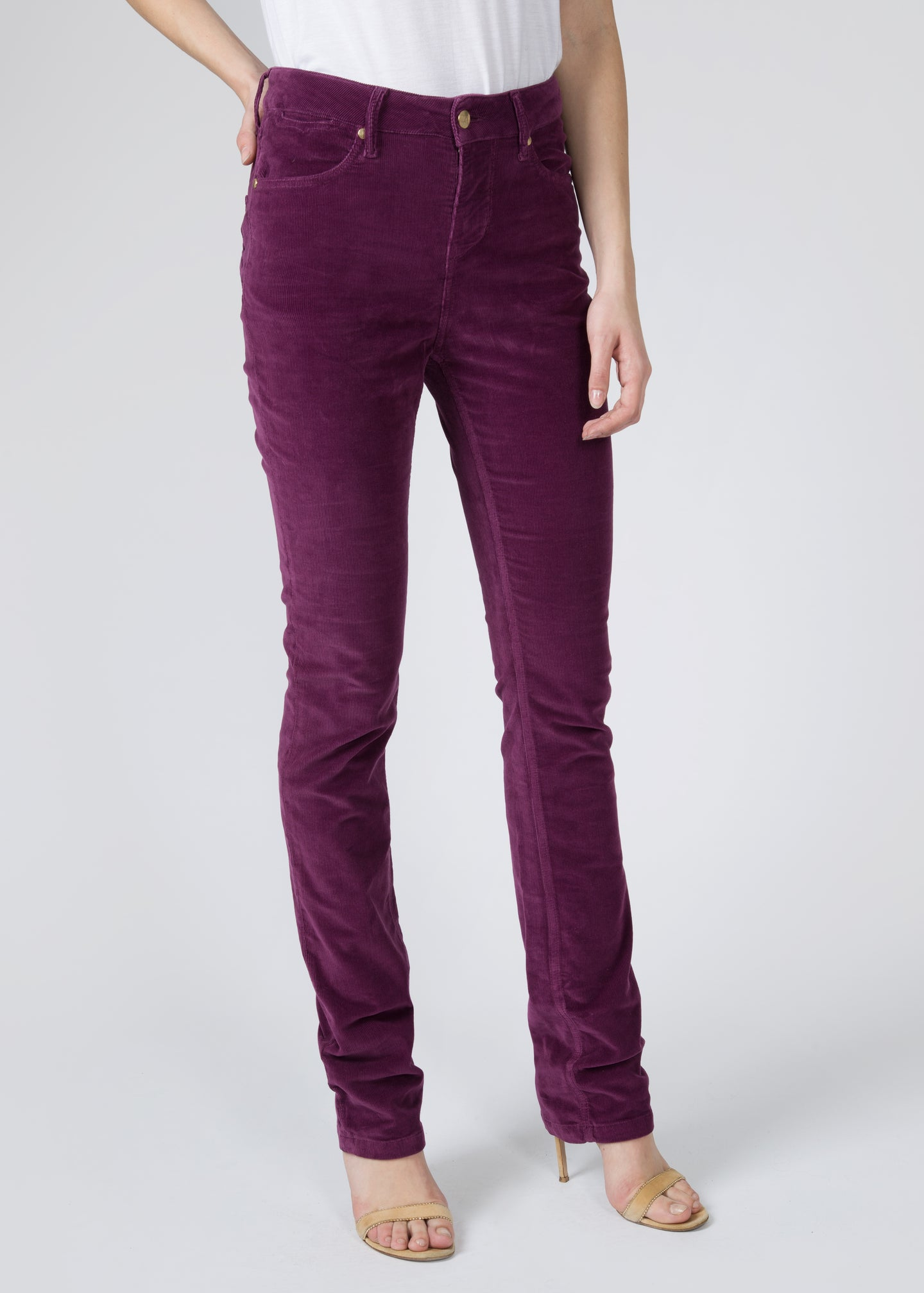 Jeanie Cigarette Leg Jeans - Corded Grape Juice