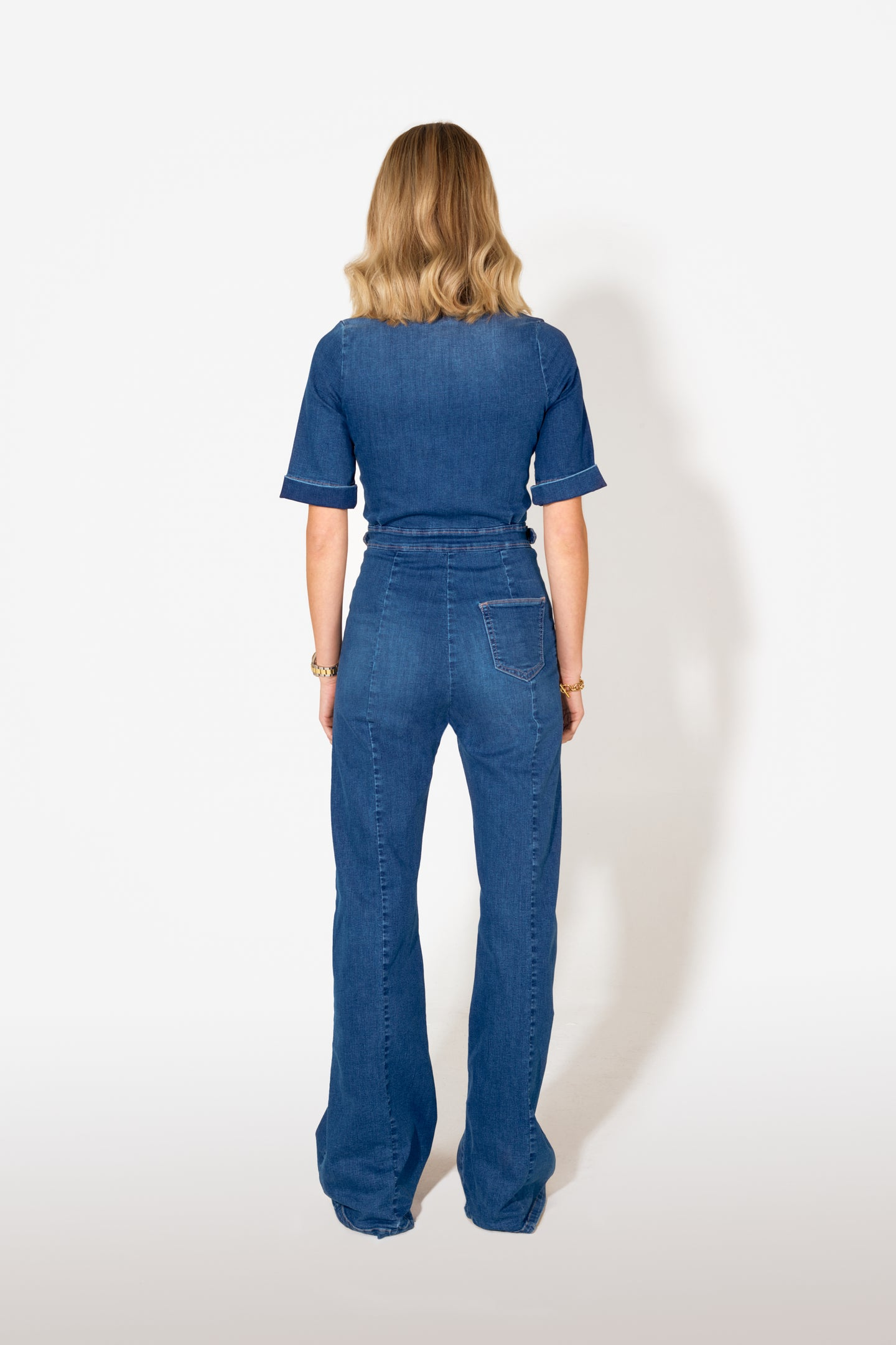 Cassandra The Flared Jumpsuit - Fawcett Blue