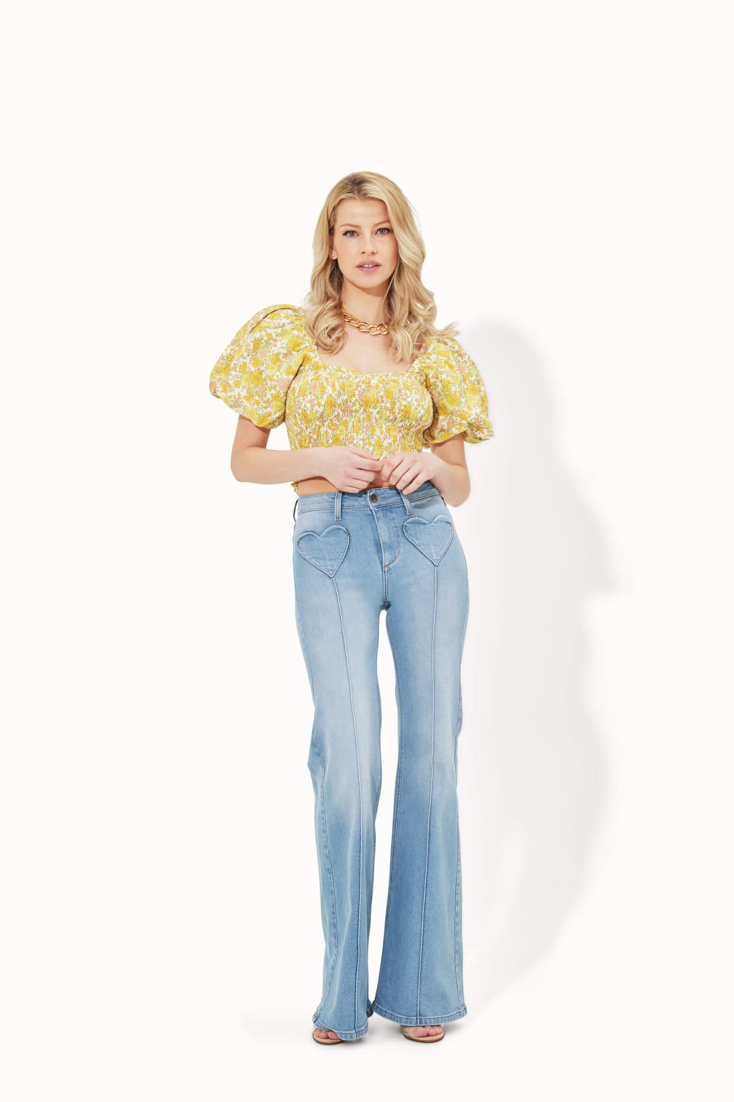 Delilah The High Top Patch Pocket Heart Throb Jeans - Spring Fling