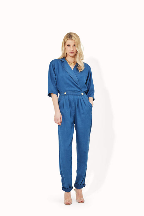 Wanda The Cross Over Power Jumpsuit - Blue Bayou
