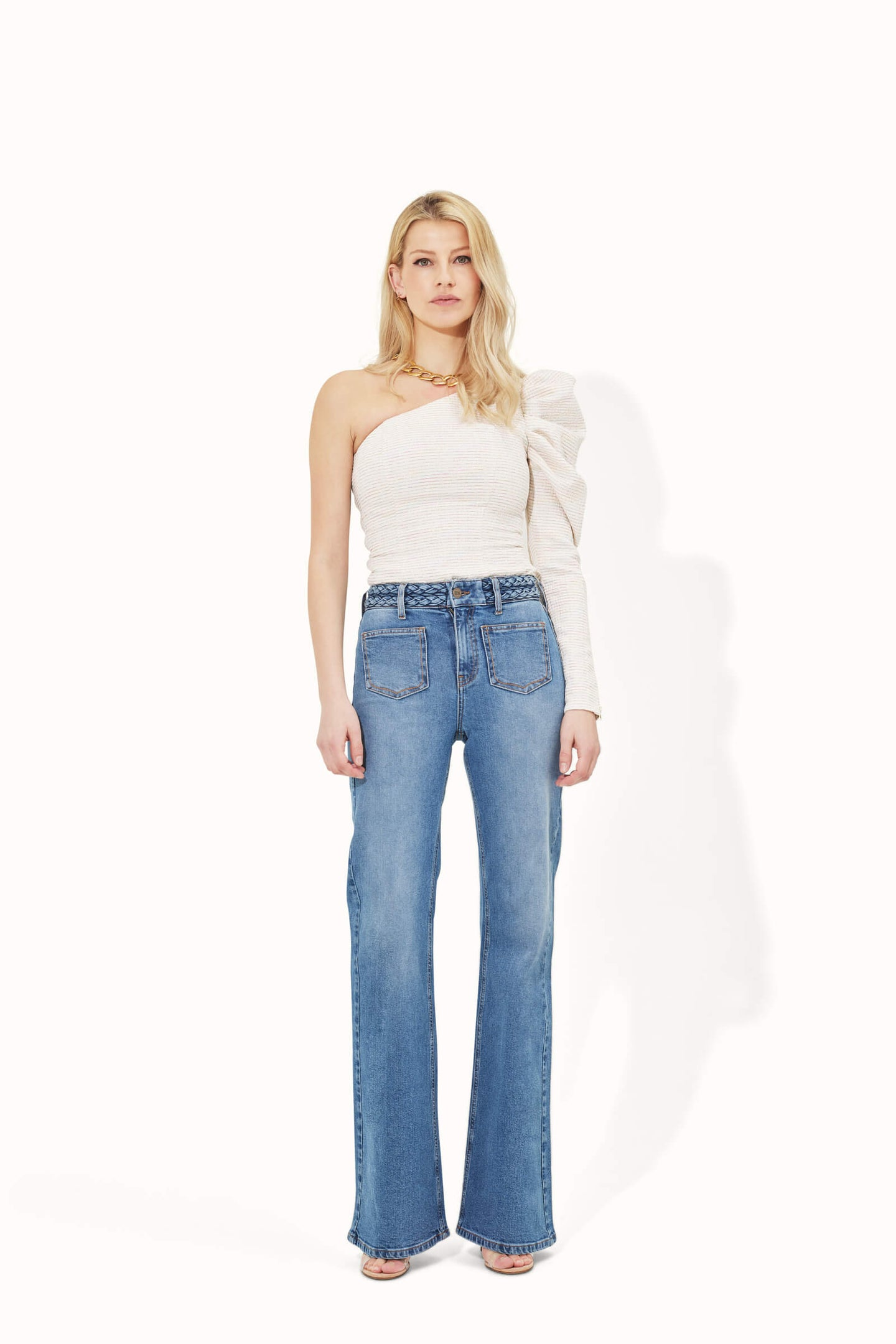 Trixie The High Top Plaited Waist Patch Pocket Flare - Transatlantic