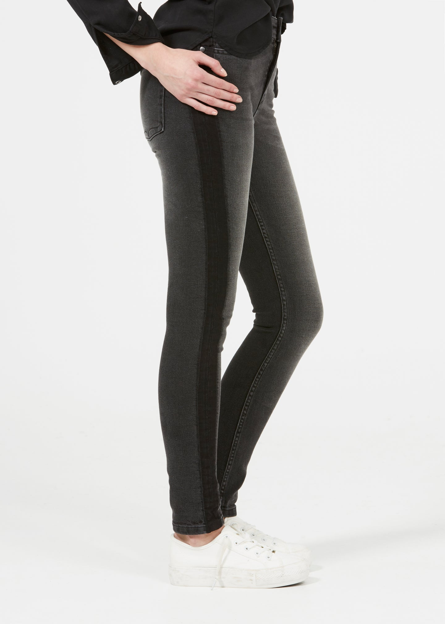Rizzo High Top Ankle Skinny Jeans - Faster Noir