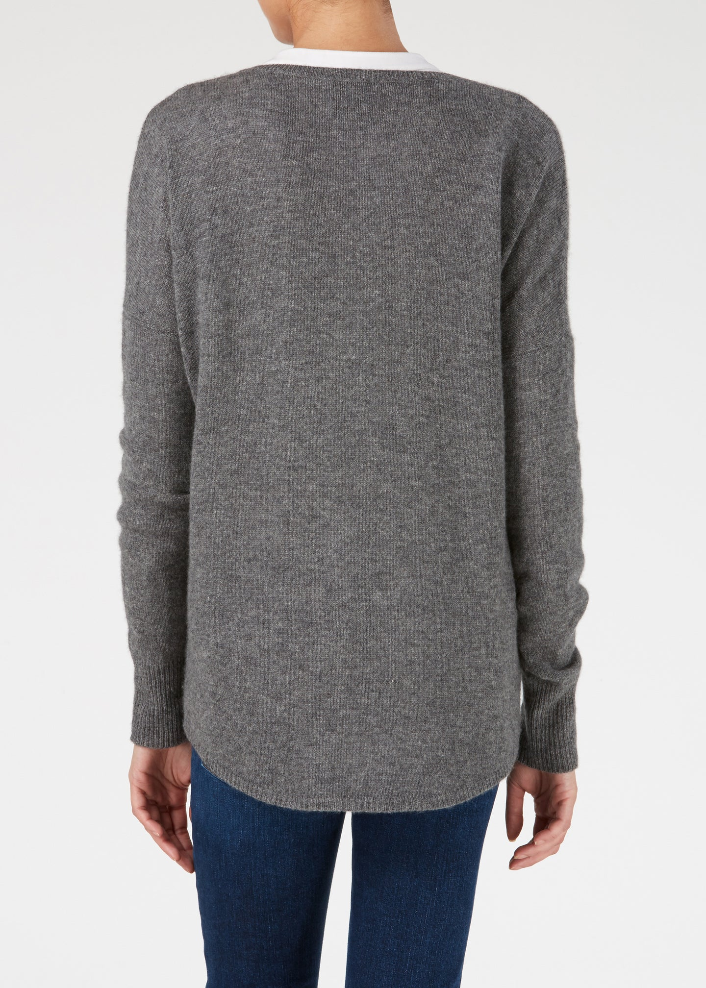 Lauren V-Neck Cashmere Knit - Slate