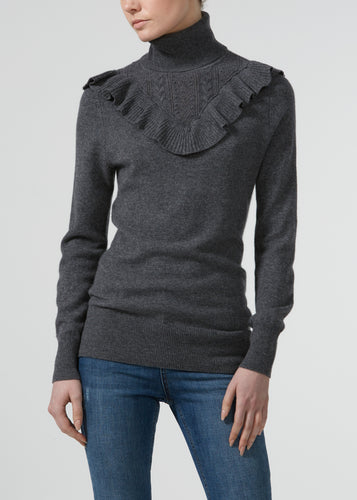 Hepburn Ruffle Cashmere Polo Neck Knit - Mid Town