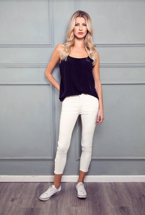 Vera High Top Button Ankle Crop - Greased Milk