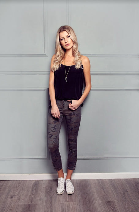 Vera High Top Button Ankle Crop - Midnight Mission