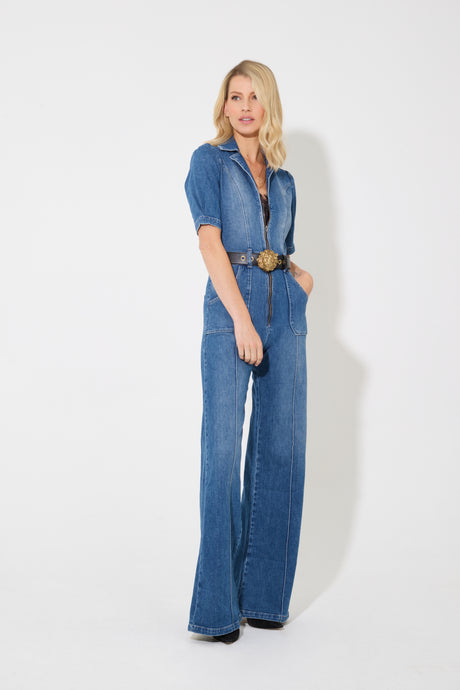 Faith The Belted Flared Jumpsuit - Springtime In Paris
