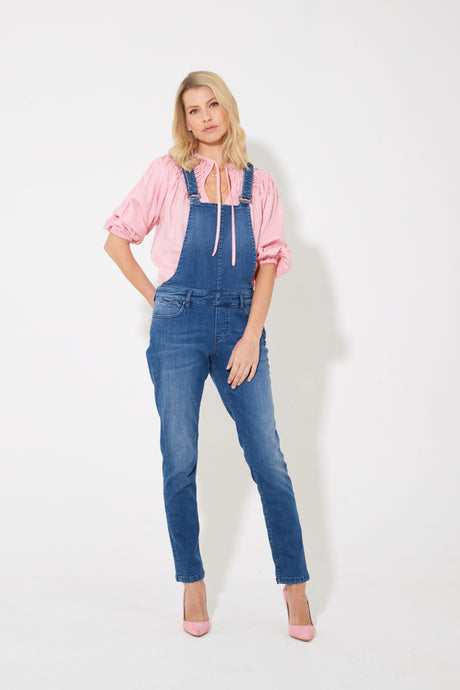 Eliza The Slim Fit Dungarees - Fawcett Blue