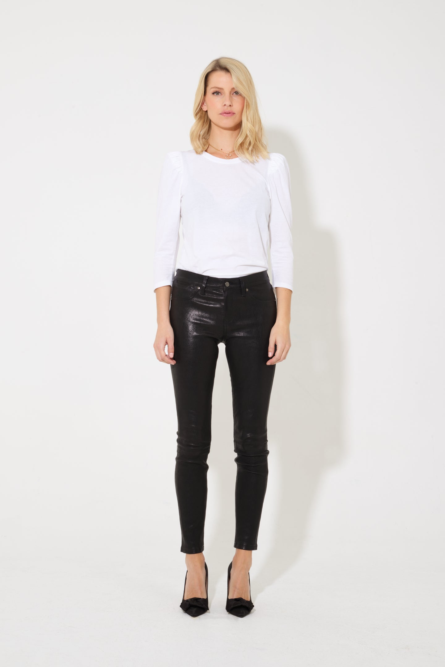 Cee Cee The Mid Rise Leather Skinny - Noir Leather
