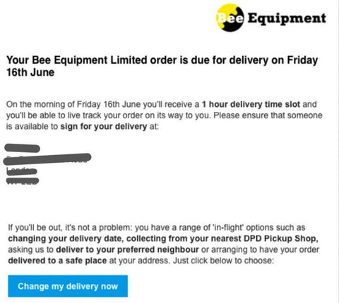 Bee Equipment Delivery example