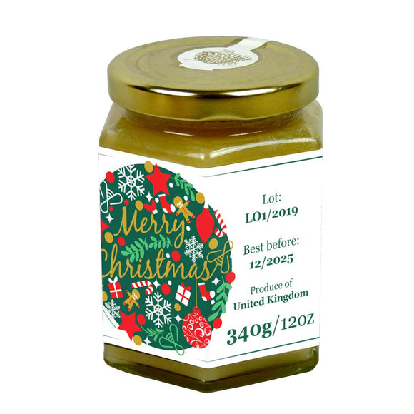 Merry Christmas - 12oz Jar Label (100 labels) [Honey/Jam/Preserves]