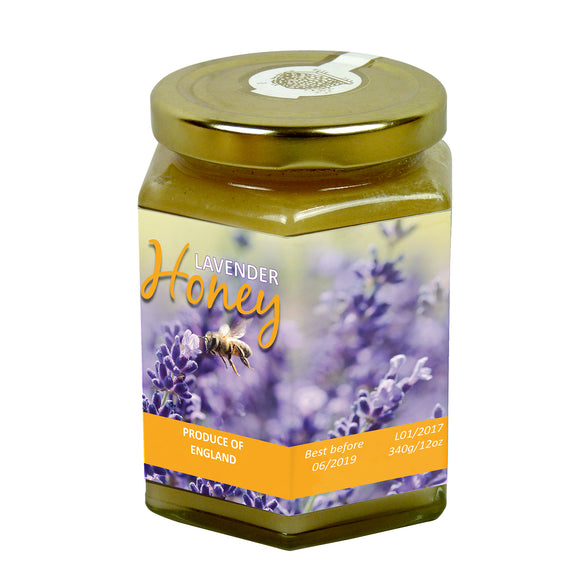 12oz Jar Label - Bees in Lavender (100 labels) - Bee Equipment