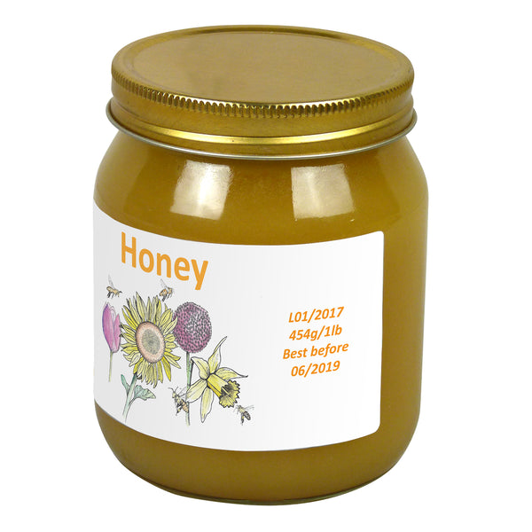 1lb Jar Label - Garden Bees (100 labels) - Bee Equipment