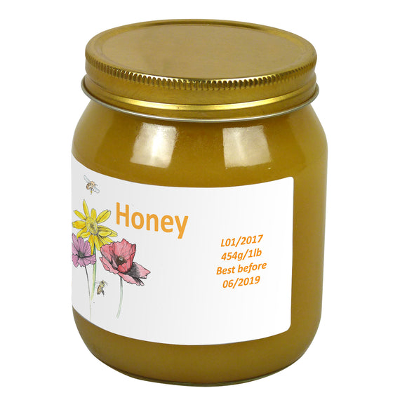 1lb Jar Label - Gathering Pollen (100 labels) - Bee Equipment