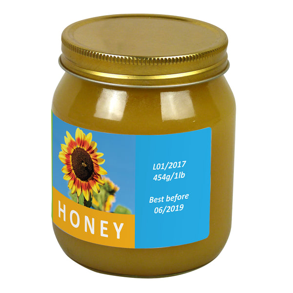 1lb Jar Label - Sunny Honey (100 labels) - Bee Equipment