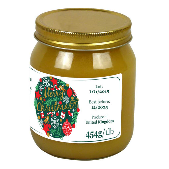 Merry Christmas - 1lb Jar Label (100 labels) [Honey/Jam/Preserves]