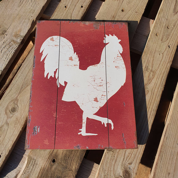 White Rooster Sign - Wood