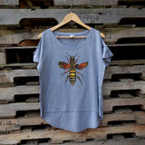 Queen Bee Cold Shoulder Grey Womens T-shirt