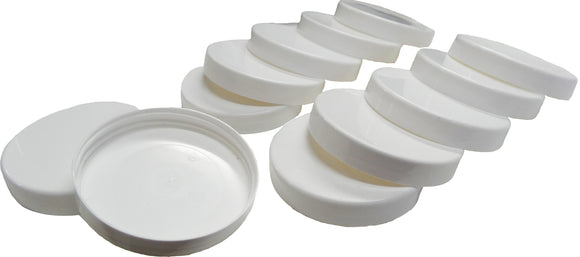 12 pack of 70mm White Plastic Lids - Bee Equipment