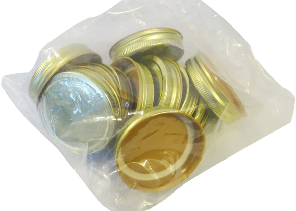 70mm Gold Lid, 12 Pack (to fit our Mason Jars) - Bee Equipment