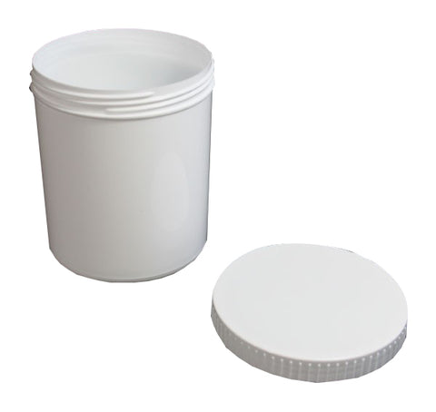 12oz White Plastic Jar with Lid - Bee Equipment