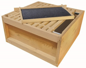 B.S. National Brood Box, Assembled, With Wooden Frames and Black Plastic Foundation, Cedar, 2nd Grade - Bee Equipment