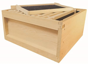 B.S. National Brood Box, Assembled, With Wooden Frames and Black Plastic Foundation, Cedar, 1st Grade - Bee Equipment