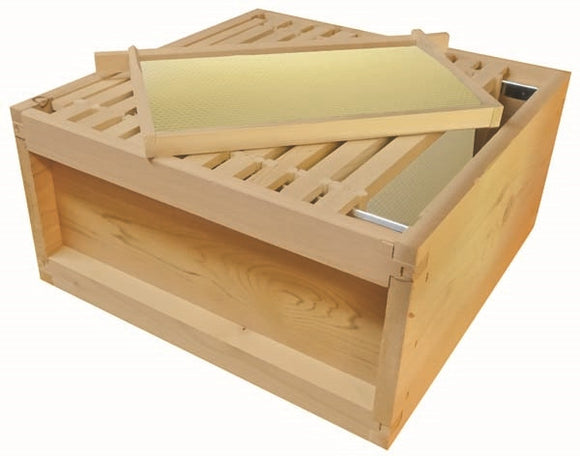 B.S. National Brood Box, Assembled, With Premium Wax Foundation, Cedar, 2nd Grade - Bee Equipment