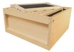B.S. National Brood Box, Assembled, With Wooden Frames and Black Plastic Foundation, Pine, 1st Grade - Bee Equipment