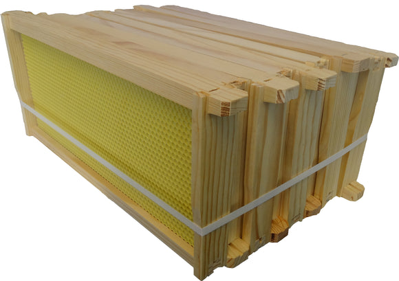 National Hybrid Assembled Super Frames with Waxed Yellow Rite-cell foundation 10 pack