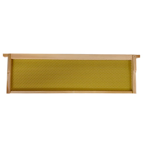 Langstroth Super Shallow Frame, Assembled, with Yellow Beeswax Coated Plastic Foundation