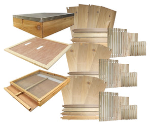 B.S. National Complete Hive Kit, Flat, Cedar, With Plastic Foundation - Bee Equipment