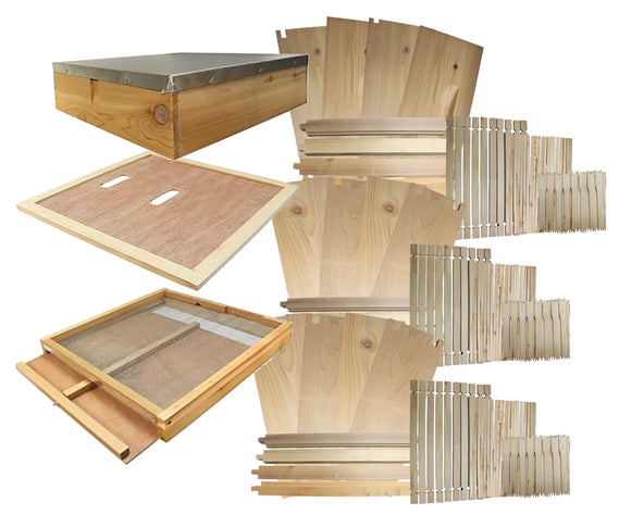 B.S. National Complete Hive Kit, Flat, Cedar, With Wax Foundation - Bee Equipment