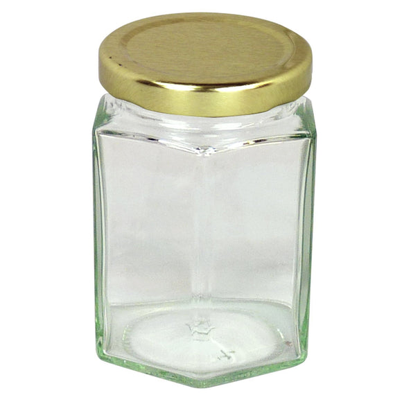12oz Glass Hex Jar With Lid, 84 Pack - Bee Equipment