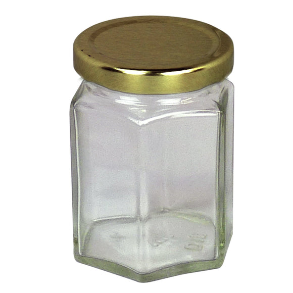4oz Glass Hex Jar With Lid, 72 Pack - Bee Equipment