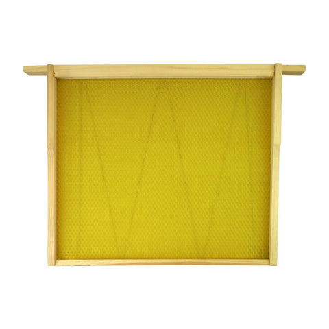 "14"" X 12"" Brood Frame Assembled With Premium Wired Wax Foundation - Bee Equipment"