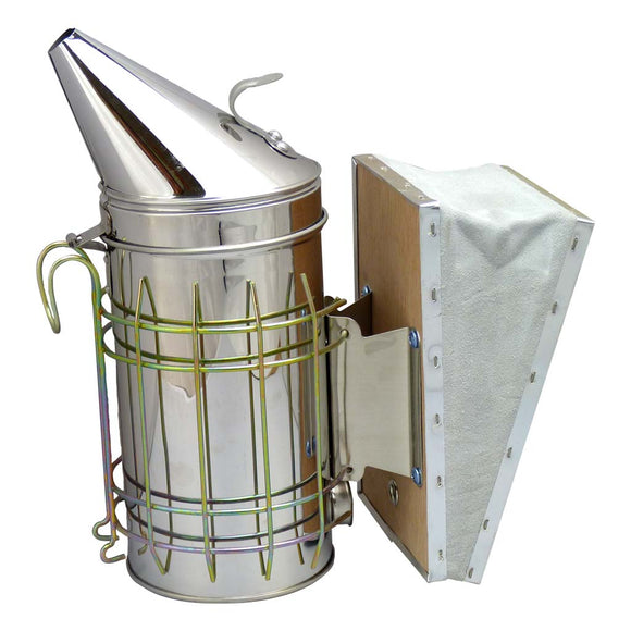 4 X 7 Stainless Steel Smoker With Guard and Wooden Bellow - Bee Equipment