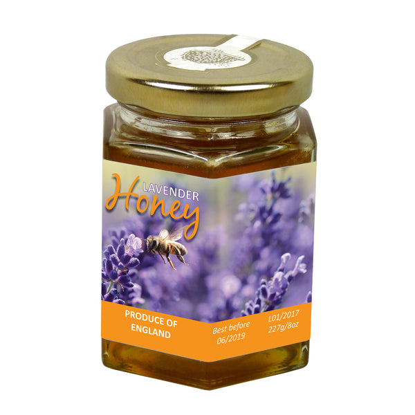 8oz Jar Label - Bees in Lavender (100 labels) - Bee Equipment