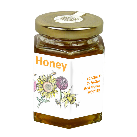 8oz Jar Label - Garden Bees (100 labels) - Bee Equipment