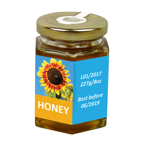 8oz Jar Label - Sunny Honey (100 labels) - Bee Equipment