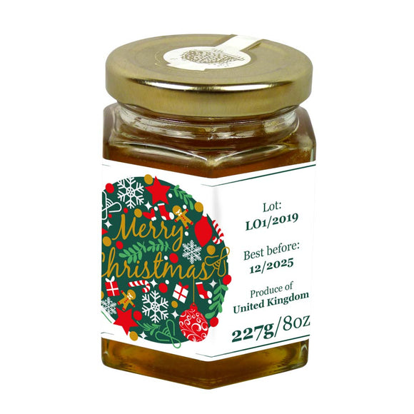 Merry Christmas - 8oz Jar Label (100 labels) [Honey/Jams/Preserves]