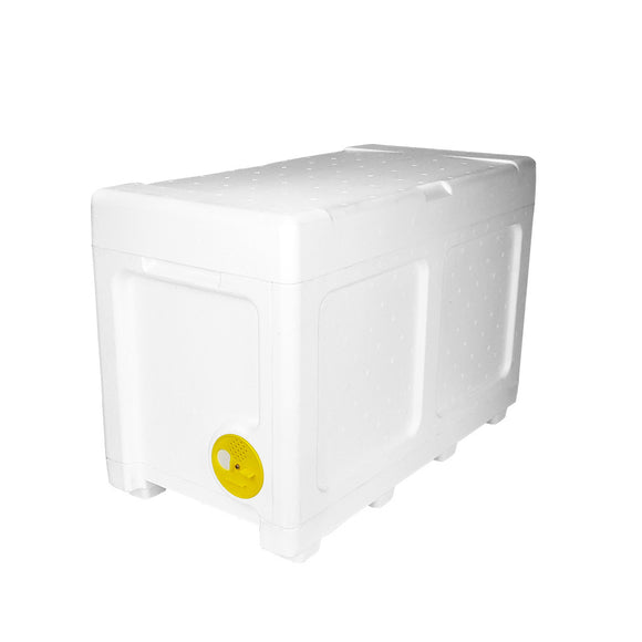 4-in-1 Poly Nuc, fits both National & Langstroth. Holds 6 Frames. Includes divider, floor and roof + entrance wheel