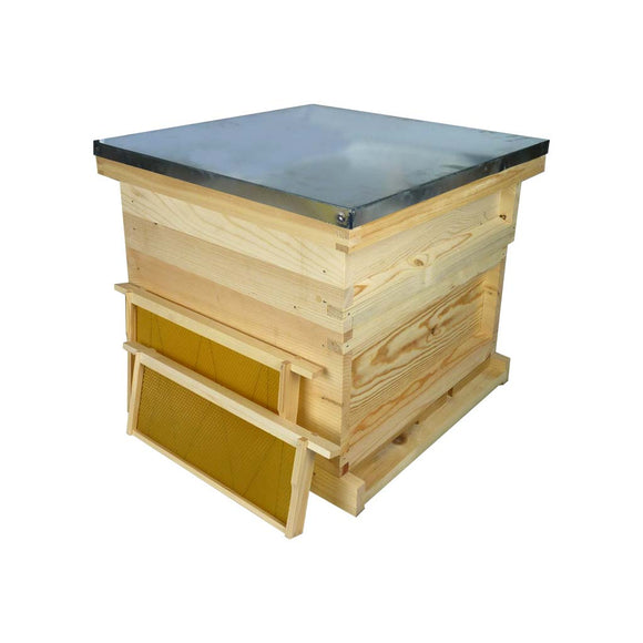 National Hive Kit - Flat Pine Brood Box and Super, Assembled Roof and Floor with flat Frames and Wax Foundation