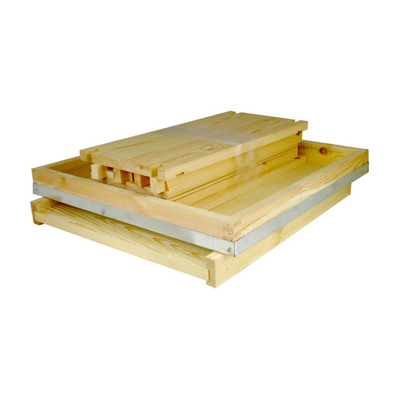 National Hive Kit - Flat Pine Brood Box, Assembled Roof and Floor, with flat Frames and Wax Foundation