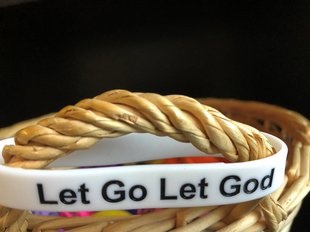 Wristband, Let Go Let God - White