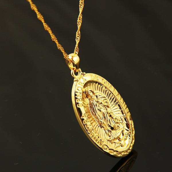 Collier Vierge Marie Plaqué Or 18k