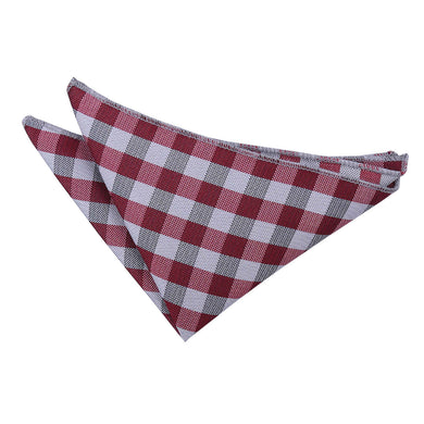 Gingham Check Dark Red Handkerchief / Pocket Square