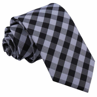 Gingham Check Black Slim Tie - Mr. Swanky